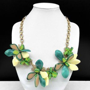 Talbots Green Jungle Leaves Statement Necklace